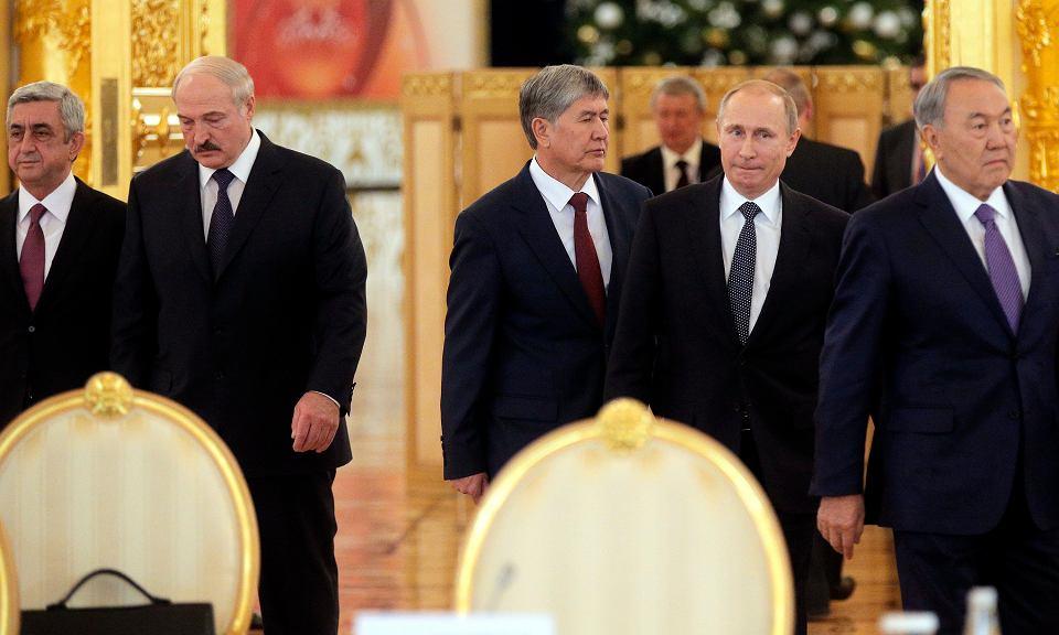 Prezydent Władimir Putin podczas spotkanie z przywódcami krajów zainteresowanych członkostwem w Unii Eurazjatyckiej