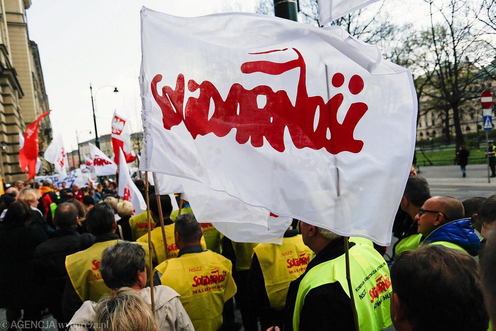 Kraków Protest budżetowki - NSZZ Solidarność