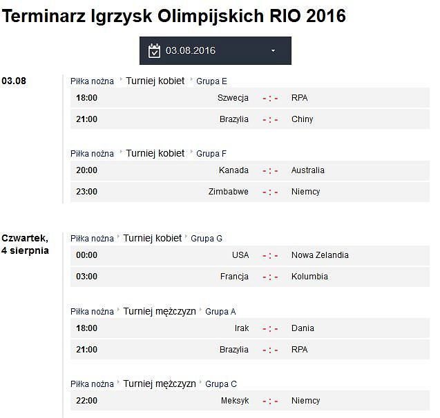 Terminarz Rio 2016