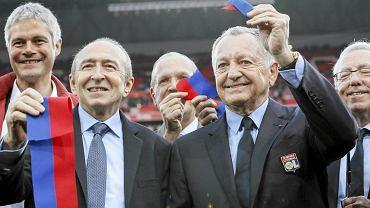 Jean-Michel Aulas (prezes Lyonu) i Gerard Collomb (burmistrz Lyonu)
