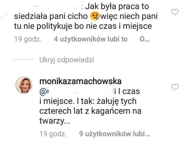 Monika Zamachowska odpowiada fance