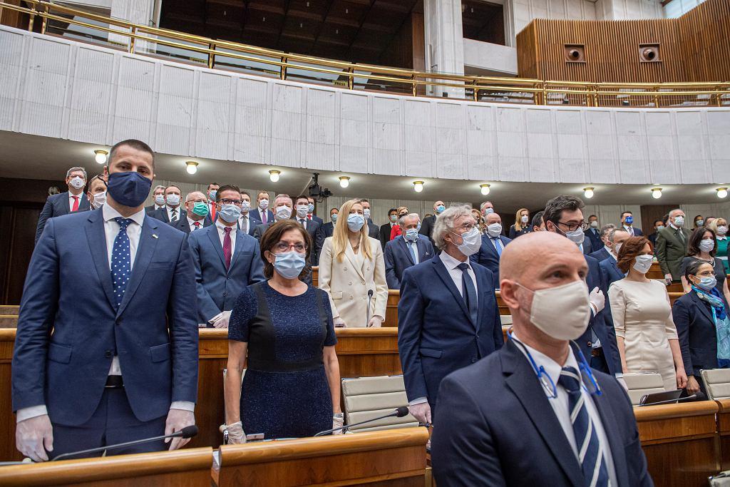 20.03.2020, Bratysława, inauguracyjne sesja słowackiego parlamentu w czasie epidemii koronawirusa.