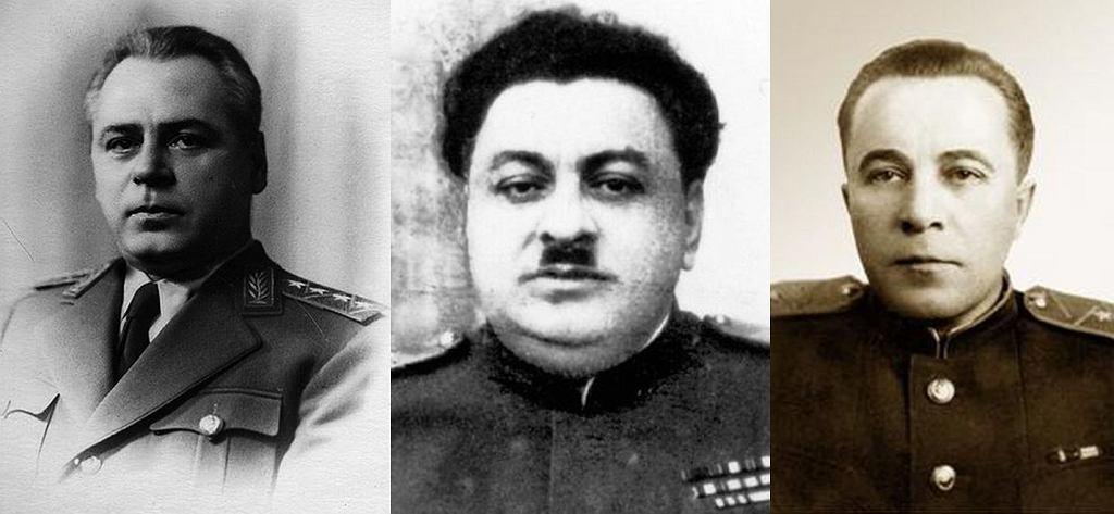 Mordercy zza biurka, czyli tzw. centralna trójka NKWD: Wsiewołod Mierkułow, Bachczo Kobułow i Leonid Basztakow
