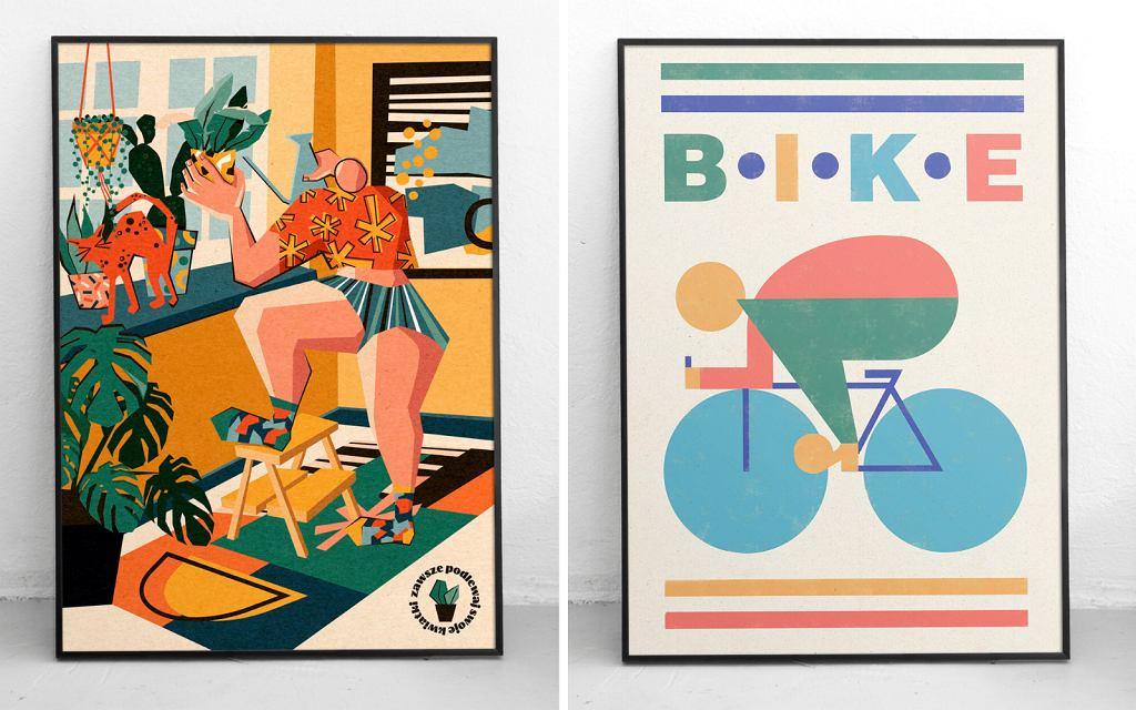 Plakaty 'Bike' i 'Kwiatki' Pauliny Adamowskiej, które są częścią wystawy TRŁ 2021.