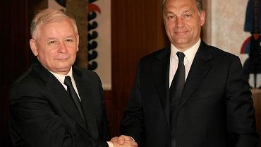 Ówczesny kandydat na prezydenta, dziś 'szeregowy poseł' - prezes PiS Jarosław Kaczyński i premier Węgier Viktor Orban. Spotkanie w hotelu Hyatt, wARSZAWA, 2 CZERWCA 2010
