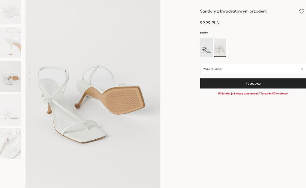 sandały z kwadratowym przodem
