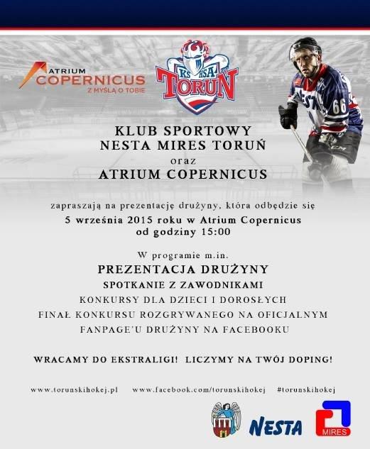 Plakat informujący o prezentacji Nesty Mires Toruń