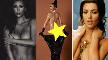 """Kim Kardashian znowu znalazła się niedawno w centrum zainteresowania, gdy pochwaliła się w sieci kolejnym nagim zdjęciem. Kontrowersyjna celebrytka została skrytykowana za publikowanie takich fotografii, jednak ostro odpowiedziała hejterom, którzy chcą """"ograniczać jej wolność"""". Kardashian wyjątkowo ceni sobie takie epatowanie sowim ciałem i seksualnością, bo ma już na koncie wiele bardzo odważnych sesji zdjęciowych. My wybraliśmy dla Was kilkanaście najodważniejszych nagich fotografii Kim. To jeszcze sztuka czy przekroczenie pewnych granic?"""
