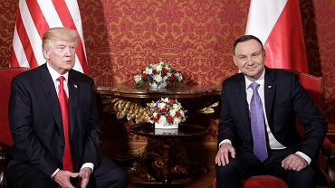 Donald Trump i Andrzej Duda podczas spotkania na Zamku Królewskim, Warszawa 06.07.2017