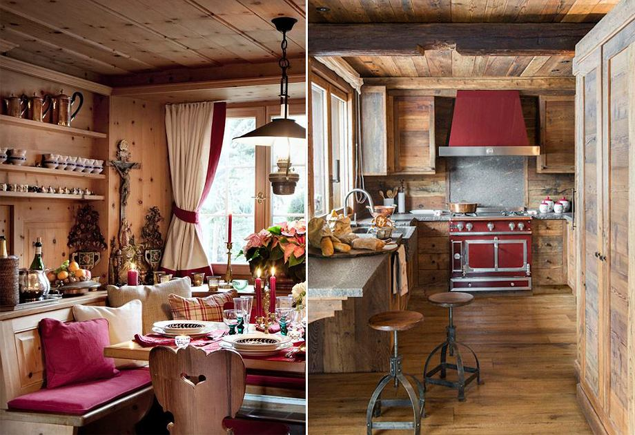 Kuchnia i jadalnia w górskim domu