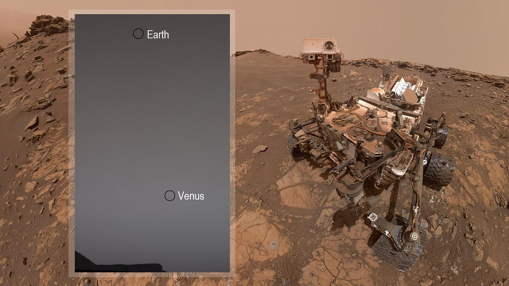 Wenus i Ziemia widziane z powierzchni Marsa