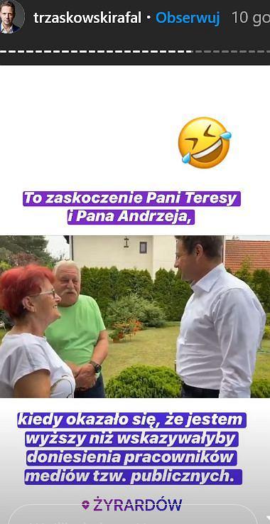 Rafał Trzaskowski śmieje się ze swojego wzrostu