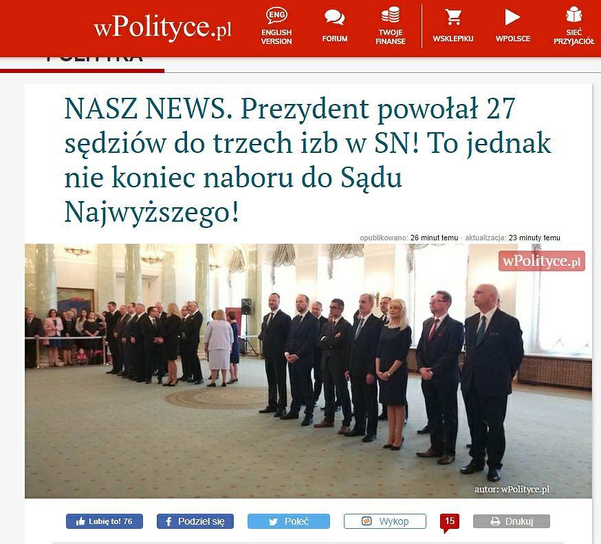 Zdjęcie z uroczystości powołania sędziów do SN autorstwa wPolityce.pl