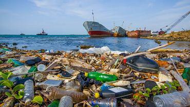 Plastikowe opakowania na wybrzeżu