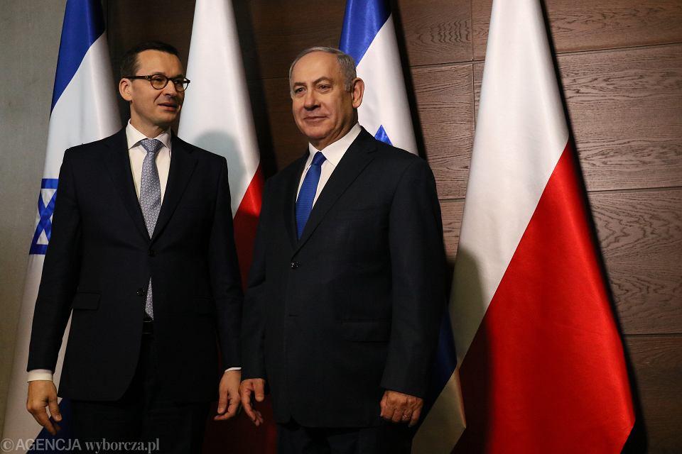 Premier rządu PiS Mateusz Morawiecki i premier Izraela Binjamin Netanjahu podczas Konferencji Bliskowschodniej. Warszawa, 14 lutego 2019