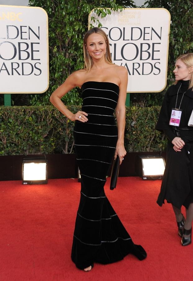 Stacy Keibler arrives at the 70th Annual Golden Globe Awards at the Beverly Hilton Hotel on Sunday Jan. 13, 2013, in Beverly Hills, Calif. (Photo by Jordan Strauss/Invision/AP)