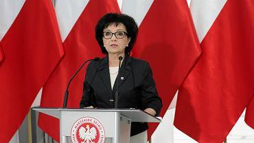 Marszałek Sejmu Elżbieta Witek podczas konferencji przed posiedzeniem. Warszawa, 11 września 2019