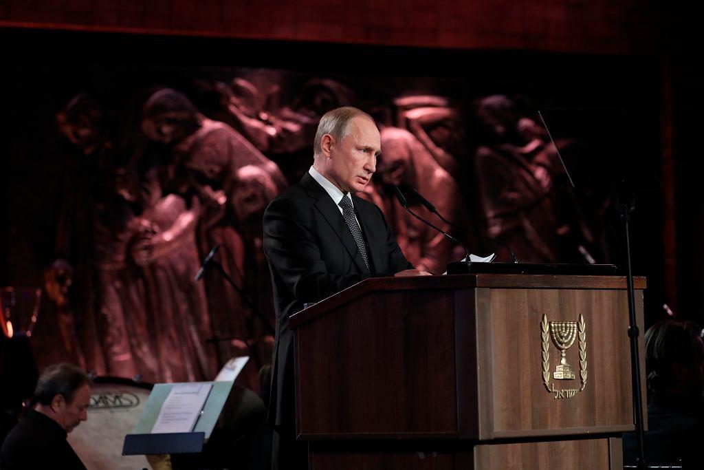 23.01.2020, Jerozolima, Yad Vashem, Władymir Putin podczas uroczystości z okazji 75. rocznicy wyzwolenia obozu koncentracyjnego w Auschwitz.