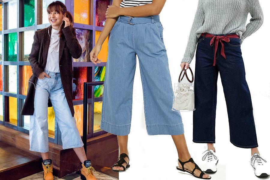 Jeansowe spodnie culottes