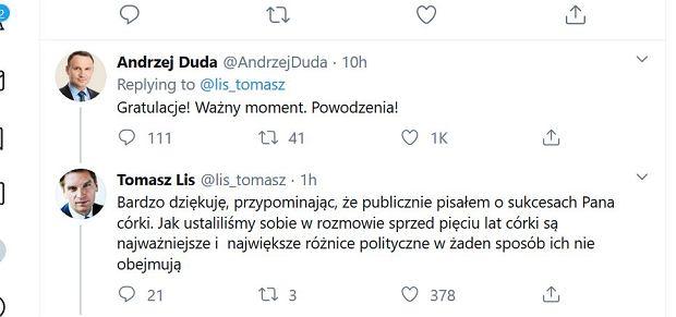 Andrzej Duda komentuje wpis Tomasza Lisa