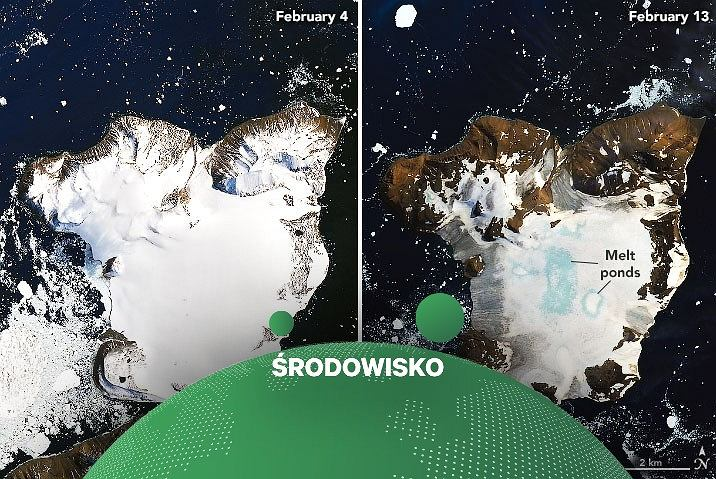 Poziom pokrywy lodowej na Antarktyce - z lewej strony zdjęcie wykonane 6 lutego, z prawej strony zdjęcie wykonane 11 lutego