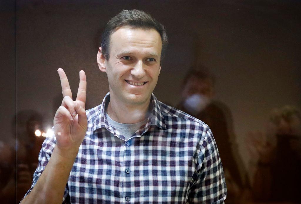 Opozycjonista Aleksiej Nawalny podczas sfingowanego procesu. Rosja, Moskwa, 20 lutego 2021