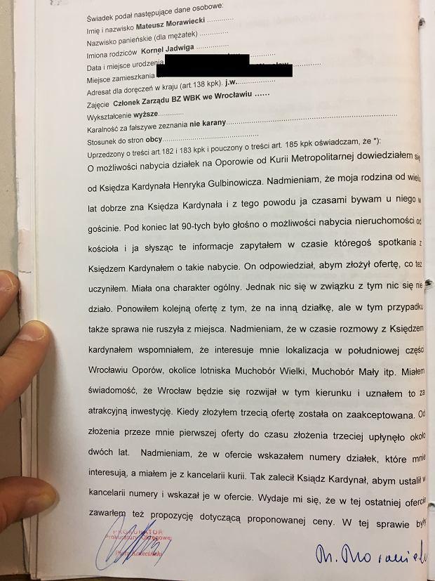 Protokół przesłuchania Mateusza Morawieckiego (str. 1, ciąg dalszy można znaleźć w galerii zdjęć artykułu)