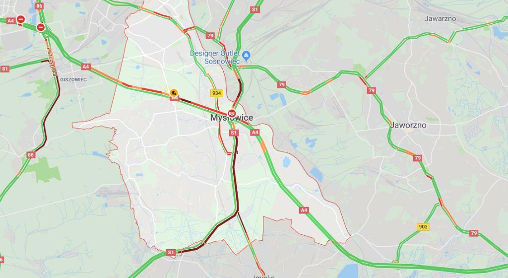 Wypadek na drodze S1 w miejscowości Mysłowice