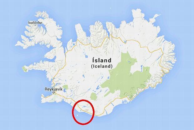 Południowy rejon Islandii, w którym doszło do wypadku