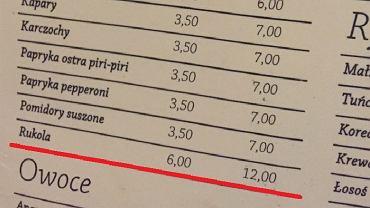 W warszawskich pizzeriach jest drogo. Za dodatkową porcję np. Rukoli trzeba zapłacić aż 12 złotych!