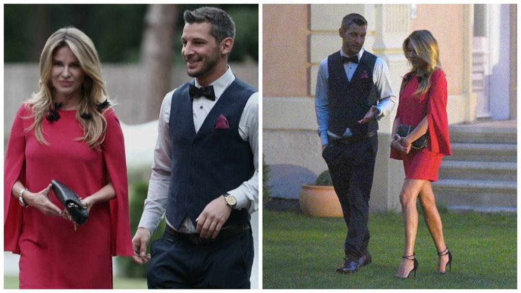 Hanna Lis na weselu prezentowała się bardzo kusząco. Czerwona mini wyeksponowała wszystkie atuty jej sylwetki.