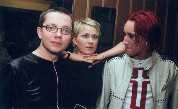 Jacek Łągwa, Justyna Majkowska, Michał Wiśniewski w 2002 roku