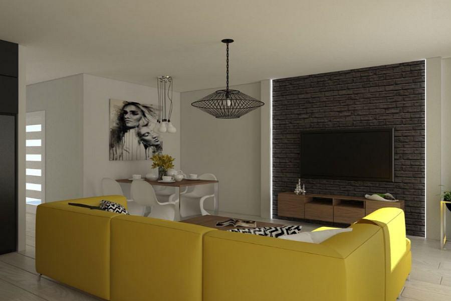 Żółta kanapa w roli głównej
