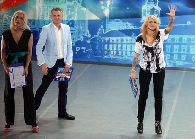 Blond Agnieszka Chylińska na castingu do Mam Talent.