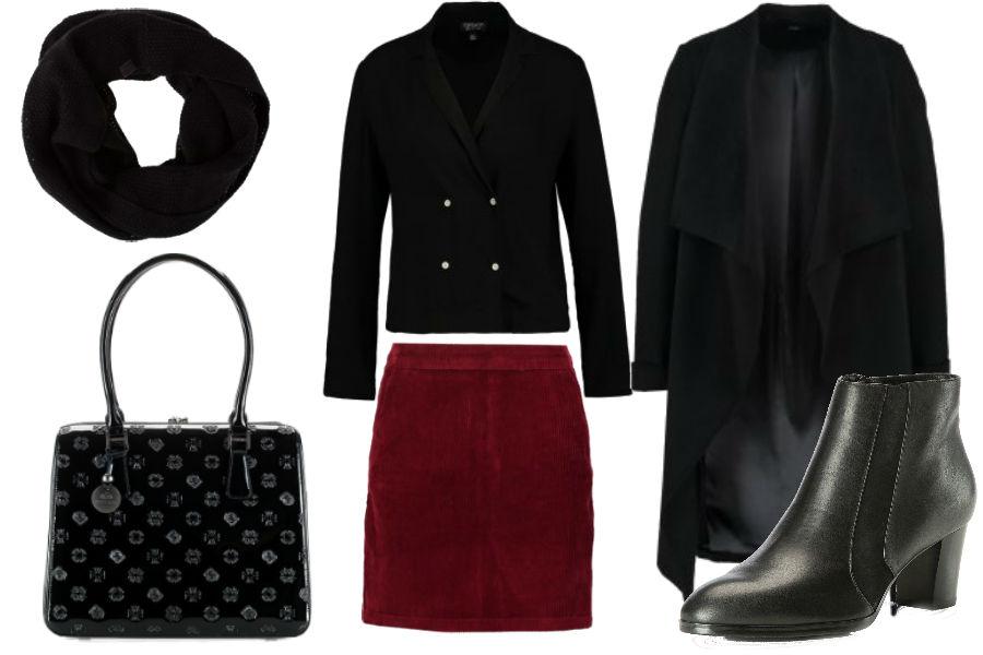 burgundowa spódnica, czarna bluzka, długi płaszcz