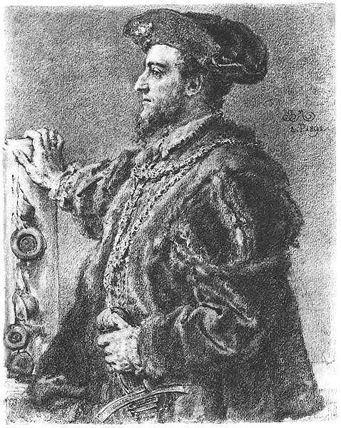 Rysunek z cyklu 'Poczet królów i książąt polskich', Zygmunt II August, Jan Matejko