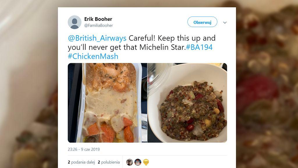 Pasażer twierdzi, że w samolocie podano mu 'karmę dla psów'. Linie lotnicze tłumaczą się