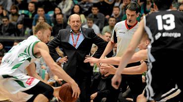 Andrej Urlep podczas meczu Śląsk Wrocław - Energa Czarni Słupsk