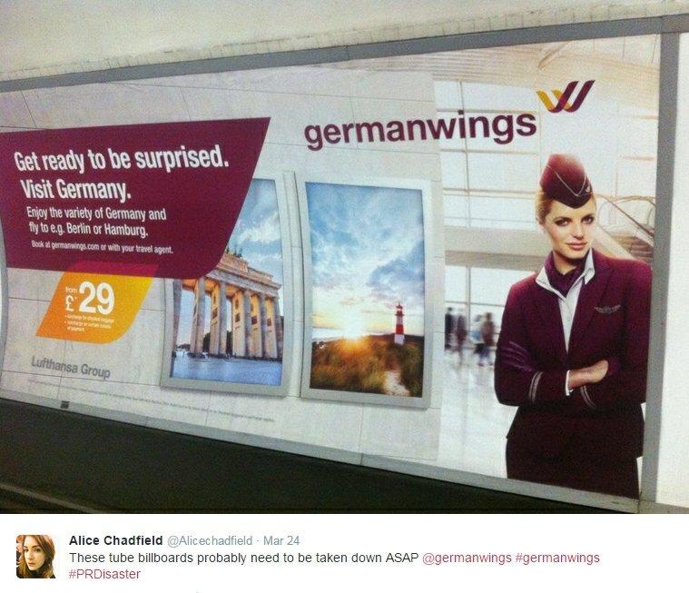 Reklama Germanwings w londyńskim metrze