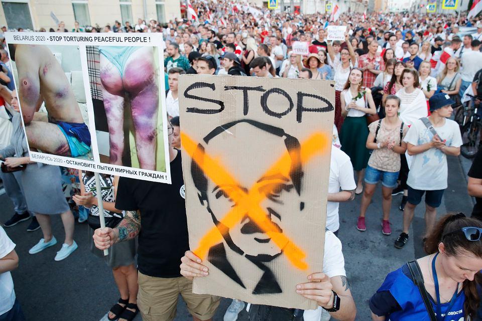 17.08.2020, manifestacja w Mińsku domagająca się odejścia Aleksandra Łukaszenki