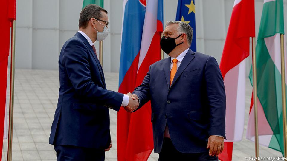 Spotkanie szefów rządów Grupy Wyszehradzkiej w Lublinie. Premierzy Polski i Węgier: Mateusz Morawiecki i Viktor Orban