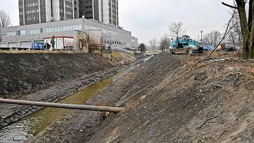 Czyszczenie Rawy w centrum Katowic