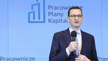 08.01.2019, Warszawa. Premier Mateusz Morawiecki podczas konferencji dotyczącej Pracowniczych Planów Kapitałowych.
