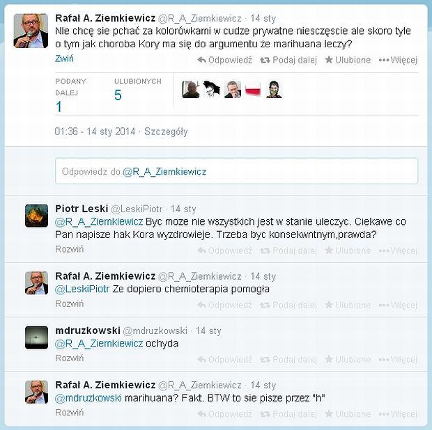 Zrzut ekranu z Twittera Ziemkiewicza