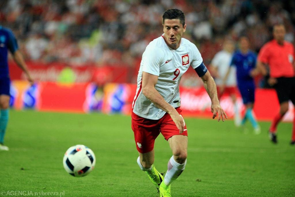 Robert Lewandowski w towarzyskim meczu Polska-Holandia