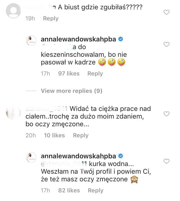 Lewandowska odpowiada na krytykę