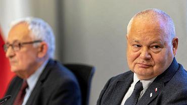 16.05.2018, Warszawa, prezes NBP Adam Glapiński na konferencji prasowej Rady Polityki Pieniężnej.