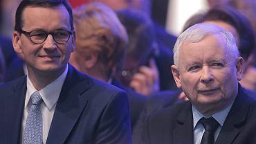Konwencja PiS. Premier Mateusz Morawiecki i prezes PiS Jarosław Kaczyński