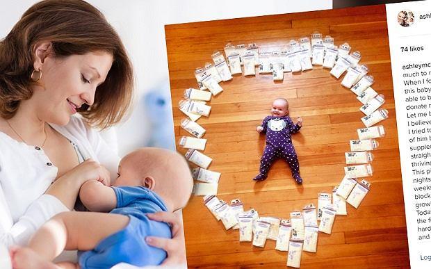 5-miesięczna Ellie w otoczeniu mleka jej mamy