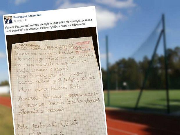 6-letnia Pola napisała list do prezydenta Szczecina, bo marzy o boisku przy szkole, w której się uczy